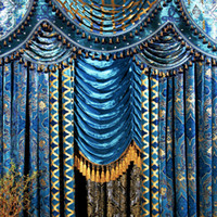 Wholesale the blind Fashion living room curtain peacock blue flannelet bronzier curtain the finished curtain Blinds bead velvet curtains