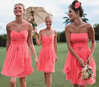 Cheap Cheap Real Image A Line Coral Corset Sweetheart Strapless Chiffon Backless Bridesmaid Dresses Cascading Ruffles Pleated Short Prom Gowns