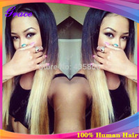 Cheap 2014 Hot Selling Ombre U Part Human Hair Wigs for Black Women Two Tone Color Straight Virgin Brazilian Human Hair U Part Wigs