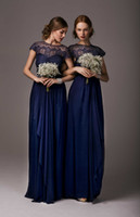Wholesale 2014 Most Popular Lace Applique Dark Blue Bridesmaid Dresses With Bow Sash Bateau Cap Sleeve Long Formal Evening Prom Dress Gowns Chiffon