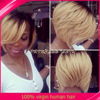 Cheap Hot Ombre Bob Wig Brazilian Virgin Hair Lace Front Blonde Ombre Lace Wig Human Hair Bob Wigs For Black Women Free Shipping Cheap