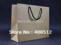Cheap 500pcs 32 W x10 D x 26cm H landscape rope handle 250gsm kraft black cardstock paper shopping bag with custom logo printing