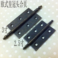 Cheap Continental Antique Chinese classical furniture retro 2.5 inch crown head bronze door hinges small windows