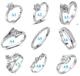 Wholesale Luxury Austrian Crystal Beautiful New Design Mixed Size Mixed Styles Sterling Silver Beautiful Crystal Wedding Infinity Rings