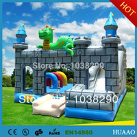 Wholesale to door commercial dragon combo slide inflatable trampoline for sale with free CE UL blower and repair kit