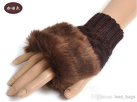 Wholesale Winter Fingerless Gloves For Women Christmas Knitted Style Color Mix prs B