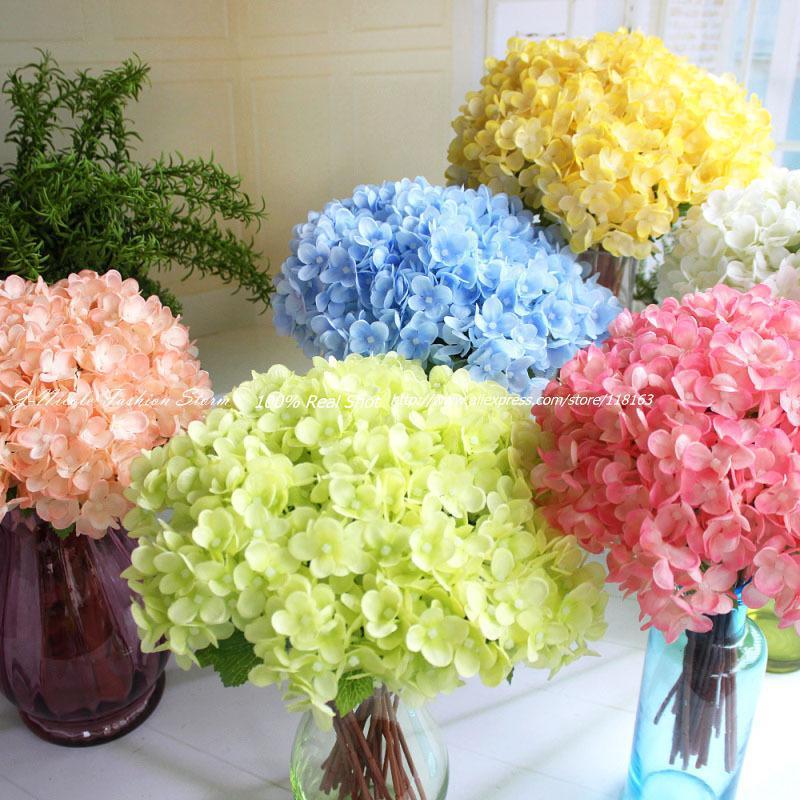 2017 Wholesale New Artificial Mini Fresh Silk Hydrangea Wedding Home Decorative Flowers Bouquet