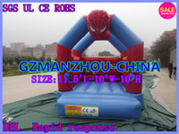 Wholesale High efficiency safety SIZE L W H BLOWER Inflatable trampoline Spider man superman iron man