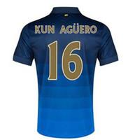 Wholesale Top Quality Season Manchester City Away Dark Blue Soccer Football Jerseys And Shorts Embroidery Logo Kun Aguero