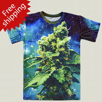 Wholesale Factory outlet weed galaxy t shirt women femininas roupas wholesales green cool casual tshirt beautiful coral silky T shirt tees