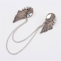 Wholesale 2014 retro collar clip angel wings shape collar pin brooch