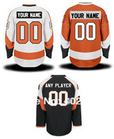 Wholesale Flyers customized custom hockey jersey orange white black colors personalized jersey pls read size chart before order