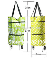 Folding Plain Canvas 45pcs lot Free shipping portable shopping cart,foldable shopping trolley bag with wheel Rolling folding shopping tote bag