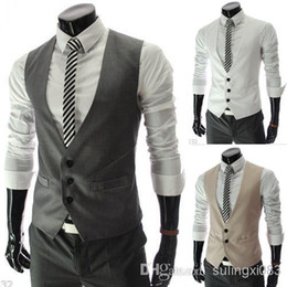 Wholesale Formal Men s Waistcoat New Arrival Fashion Groom Tuxedos Wear Bridegroom Vests Casual Slim Vest Custom Made Grey White Black Red Ivory