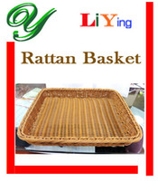 Wholesale Rattan Plastic Basket Storage plate tray Tableware dinnerware restaurant supplies pc rectangular Wicker cm for food fruits bakery toys