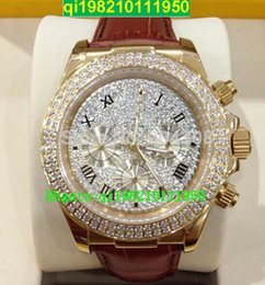 factory seller High quality low price Brand New Luxury 18k Rose Gold Pave Diamond Dial 116509 Automatic Mens Watch Leather Strap Men's Sport
