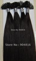 Cheap AAA Quality 22-30in Italian Keratin Flat Tip Prebonded Hair Extensions Black #1B 500g Indian Remy Human Hair DHL Free Shipping