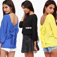 Cheap Free Shipping 2014 New Women Celebrity Blouse Fashion Full Sleeve Back Hallow Out Elegant Tops Ladies Chiffon Shirt