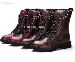 Wholesale skull rivets manual genuine leather martin boots unisex black leather boots with plush winter boots plus size boots size to