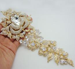 """Wholesale - 8.11"""" Bride Wedding Brooch Luxury Rose Flower Leaf Many Rhinestone Crystal Brooch Pin Fashion Rhinestone Flower Wedding Jewelry"""