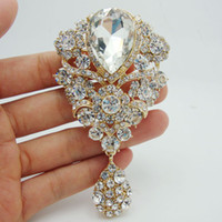unique jewelry - Fashion Woman Jewelry Unique Flower Drop Gold plated Brooch Pin Pendant Clear Rhinestone Crystal