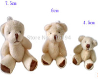 Cheap wholesale 4.5CM=1.77inch cheap white mini plush teddy bear phone pendant cartoon bouquet doll wedding gifts