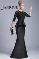 Cheap 2014 Black Evening Gowns Sheer Crew High Neck Half Long Sleeves Appliques Lace Beaded Peplum Sheath Formal Dresses Vestido Formales 510