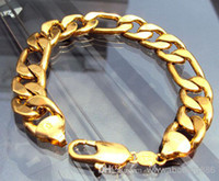 Wholesale 14K REAL YELLOW GOLD GF Noble MEN S BRACELET g HOT quot FIGARO CHAIN GF