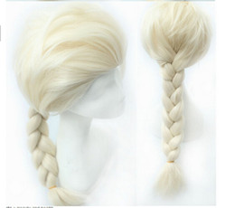 Cartoon Frozen 2014 Hot New Arrival Princess Dairy Queen Elsa Hair Wigs Frozen Cosplay Wig Ice Snow Queen White Braid Hairpiece