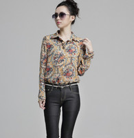 Cheap New 2014 chiffon blouse women's long sleeve flower printed shirt women clothing blusas femininas dudalina free ship