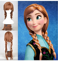 Wholesale Frozen queen elsa wig princess and anna wig korean heat resistant synthetic cosplay Animation wig silver light gold color