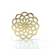 Cheap 10 Gold Plated Hollow Flower Window Plate Origami Owl Floating Charms For 30mm Glass Living Locket Wholesale (W03767 X 1)