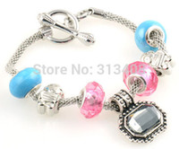 Wholesale Delicate Lampwork Porcelain Silver European Beaded Charms Design Bangle Bracelet