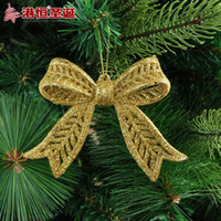Wholesale Christmas tree ornaments x8cm golden stick powder hollow plastic bow g supplies natal snowflake crafts hanging