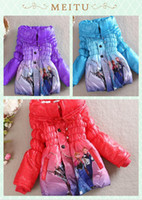 Wholesale 2016 Hot Sales Red Blue Purple Frozen Elsa Anna down winter coat Kids thick long cotton padded clothes Jacket Coat outwear