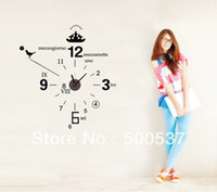 Cheap #801,20 sets lot Free Shipping DIY clock Wall Stickers,size 90*90 Home Decor Sticker Wall Clock (movement included)