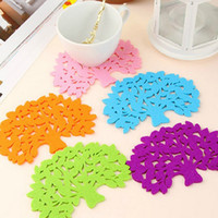 Wholesale 7pcs New fashion Big Trees modeling non woven coasters Insulation pads colorful creative household items
