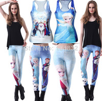 Cheap East Knitting 2014 Fitness Sport Tops Women Brand Funny Frozen Print Clothing Digital 3D Printing Ladies Punk Clothes