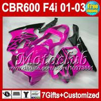 Wholesale 7gifts For HONDA CBR600F4i CBR600 F4i MC7210 Rose black CBR600FS FS CBR F4i F4i Gloss Pink blk Fairing