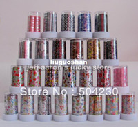 Cheap 27 Rolls Mix colors Pattern Nail Art Transfer Foil Paper Set Nail Tip Decoration Sticker Decals Wholesale