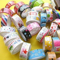 Wholesale rolls Mixed Cartoon Deco Washi DIY Tape Adhesive Scrapbooking Sticker For Students Child Drop Free