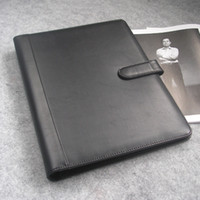leather notebook with calculator - Hasp lock A4 file folder ring binder with card pen holder calculator leather notebook black