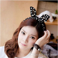 Cheap Lovely Big Rabbit Ear Bow Headband Bowknot Ponytail Holder Hair Tie Band Headwear Korean Style for Women Accessories Dot Hair Bands
