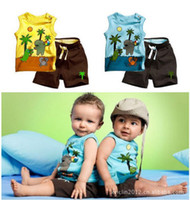 Cheap 2013 fashion new summer children's clothing boys the coconut tree sleeveless suit the color yellow blue free shipping