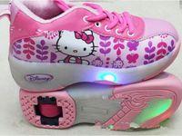 Wholesale 28 yards cartoon pink Heelys Girls single wheel flying shoes Children skates Winter warm shoes baby shoes pair
