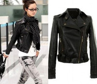 Cheap New Fashion 2014 Spring Winter Short Women Jackets Brand Punk Faux Leather Jackets For Women