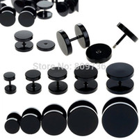 fake gauges - 10pcs Black Stainless Steel Fake Cheater Ear Plugs Gauge Body Jewelry Pierceing Earring For Men
