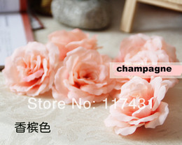 Commerce de gros de l'arrivée de Nouveaux livraison Gratuite (100 pcs/lot) de 8 cm en Ivoire de Soie Artificielle Camellia Tissu Rose de Fleurs de Pivoine Chefs Décoration de Mariage supplier fabric rose heads à partir de tissu rose têtes fournisseurs