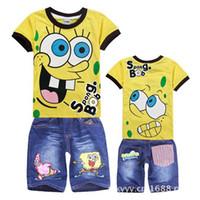 Cheap Wholesale-children clothing sets 2013 Summer Children suits Spongebob Boy's Cartoon sets kids boys short sleeve T-shirt + jeans shorts
