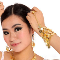 Wholesale 2015 Bracelet with ring hand chain pc Belly dance wear accessory with silver Gold colors